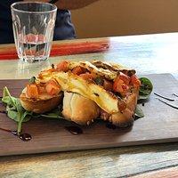 Fabulous lunch @ Salt Shaker - sweet potato gnocchi with pumpkin & fetta, bruschetta, Thai fish cakes