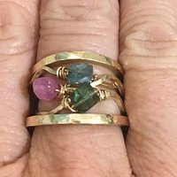 Precious stone 9 carat gold wave stacker rings £160