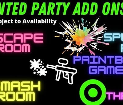 Rage room, Smash room, Paintball, Axe Cage, Escape room and Paint room