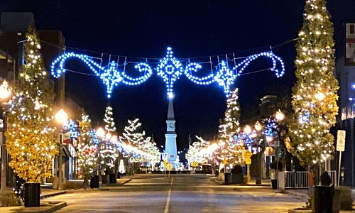 A view of Erie Street at night during the Christmas 2020 season.