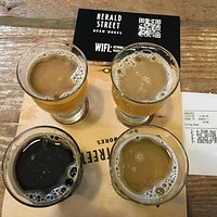 Four of the eleven different beers available. Menu available on their QR code.