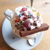 Cadbury Smarties Supreme hot chocolate.