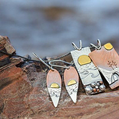 handmade mixed metal sunrise/sunset pendants and earrings from the Pictured Rock jewelry collection