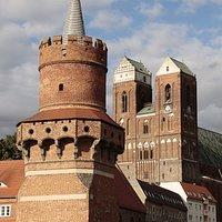 Prenzlau, Brandenburg, Germany - Mitteltortum and Marienkirche.