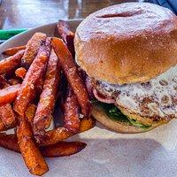 El Nido Brekky Burger and sweet potato fries