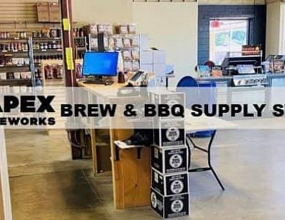 Inside Apex Aleworks Brew & BBQ Supply Store