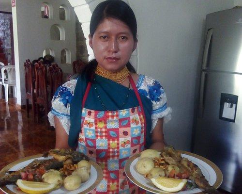 """Truchas y tilapia frita ademas caldo de gallina y caldo de patas jugos postres etc """"gastronomía"""""""