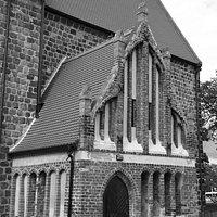 Prenzlau, Brandenburg, Germany, Sankt Jacobi-Kirche - side entrance in Brick Gothic style.