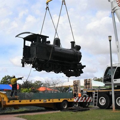 Moving the train to its new home at the Old Katherine Railway Station.