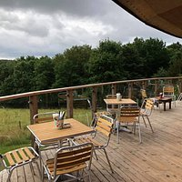 The view from our fantastic outdoor dining area overlooking the River Lostock.