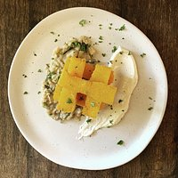 - polenta - crispy polenta fries on smashed rosemary and cannelloni beans
