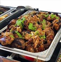 buffet, grilled chicken, Aloko, Accra, ghana , ivorian food 🍲, Atiéké