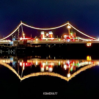 Ss City of Milwaukee lit up for Christmas.