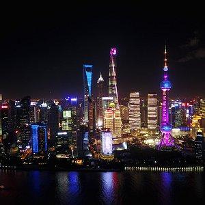 Impressive night view of Shanghai