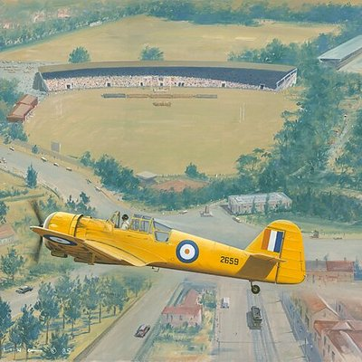 Military Aviation Collection of oil paintings by Ron Belling on display at the GFI Art Gallery. Prints for sale. There are 154 paintings in the Ron Belling Collection as well as sketches which cover the history of aviation from 1917 to approximately 1976 in South Africa.