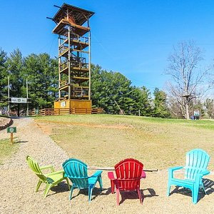 Our Asheville Zipline Canopy Tours zip off our 60-foot Jenga Tower!