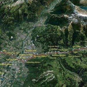 Train AOMC Aigle - Ollon - Monthey - Champéry en traversant le Val d'Illiez (trajet d'Aigle à Champéry)