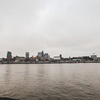 Aussicht auf die Skyline Hamburgs von dem Aussichtspunkt Steinwerder.