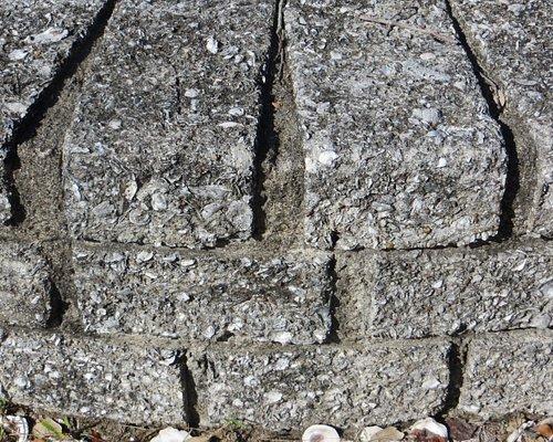 Bricks made of shells. Historic Shellcrete Square Park, Rockport, TX  Dec 2020