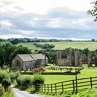 Easby Abbey and St Agatha's Church, viewed from the optional Easby Lane return route, near the famous Echo Stone. Clap your hands here, and you'll see why it has that name!