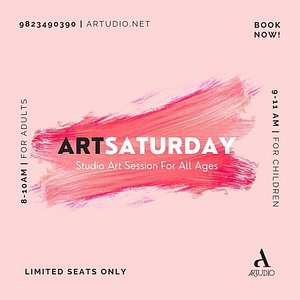 """ArtSaturday for All Ages (Book Now)  BOOK NOW ! 9823490390 artudio@hotmail.com  For Adults {8 – 10 AM} For Children {9 – 11 AM}  WHEN ?: Every Saturday from 9.00-11.00 AM  WHERE ?: Artudio  REGISTRATION FEE: Rs. 400 per session.   """"ArtSaturday is an interactive Weekend studio art session for all ages under the motorship of celebrated contemporary artists and designers."""
