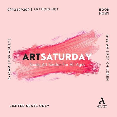 "ArtSaturday for All Ages (Book Now)  BOOK NOW ! 9823490390 artudio@hotmail.com  For Adults {8 – 10 AM} For Children {9 – 11 AM}  WHEN ?: Every Saturday from 9.00-11.00 AM  WHERE ?: Artudio  REGISTRATION FEE: Rs. 400 per session.   ""ArtSaturday is an interactive Weekend studio art session for all ages under the motorship of celebrated contemporary artists and designers."