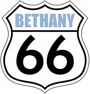 This is the logo for the annual Bethany 66 Festival, which includes a large car show on Route 66, arts-crafts-retail vendors, children's parade, live music, and lots of free family fun in downtown Bethany on Route 66.