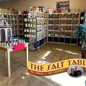 This is a view of the interior of our Salt Table shop. Hundreds of flavors from which to choose, and all Georgia Grown.