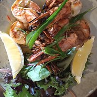 Charred prawns. Four in total