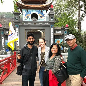 Tourists is visiting Ngoc Son Temple at Sword Lake