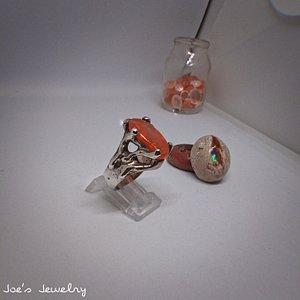 ópalo de fuego natural sobre plata artesanal 925  fire opal natural over craft silver 925