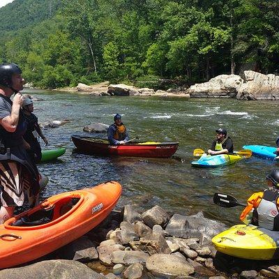 Whitewater kayak and canoe instruction