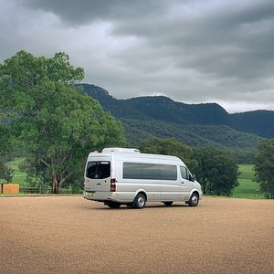 A view of the hills and our favourite tour bus.