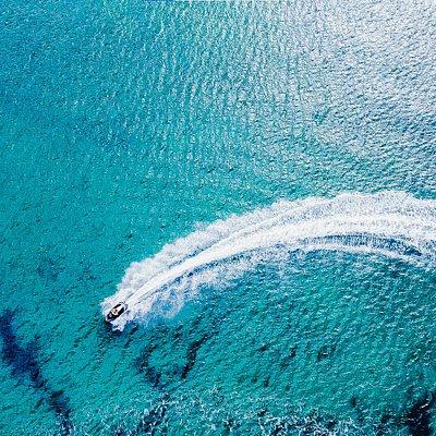 drone footage of jetski fun
