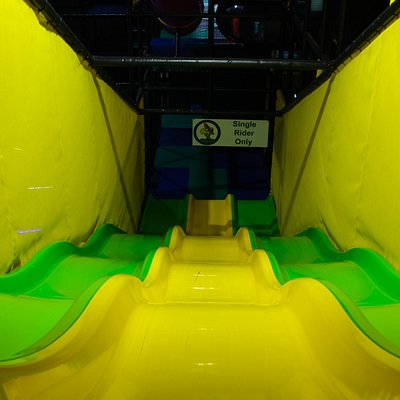 (Found these pics online, I think professionally done) Crazy Slide, the kids spent a full 45 minutes climbing up the structure, just to race down the slide. I dont see big slide slides like this anymore, thank you Crash Crawlys!!