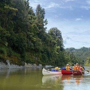 Canoeing down the beautiful Whanganui River.
