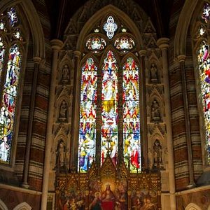 Inside the chapel, beautiful stained glass windows