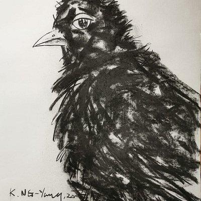 Kristin NG Yang Big Bird charcoal on paper