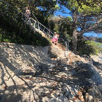 Coastal path swimming locations and access via Levanat restaurant.