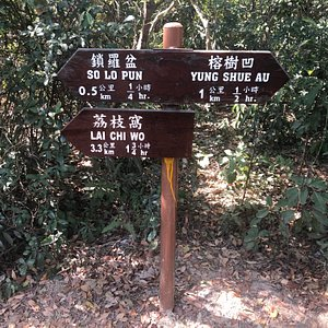 Hiking trail sign to Yung Shue Au