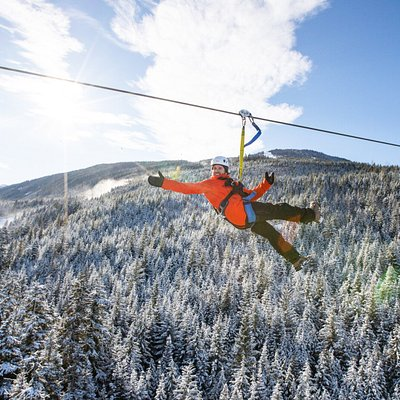 Ziptrek in Winter. Fly between Whistler & Blackcomb Mountains on this exhilarating outdoor adventure. Includes 360 views of the surrounding area and travel through an old growth rainforest. Located directly above Whistler's main village.