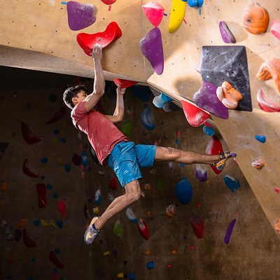 Bouldering walls at the centre.
