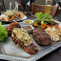 Steak and seafood platter
