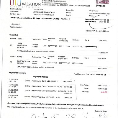 receipt of our last vacation payments to UTO Vacations