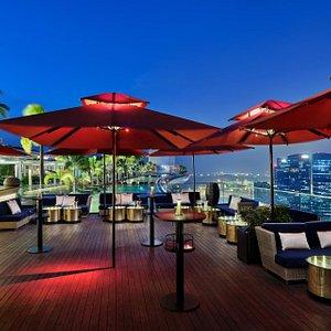 Sky Lounge, view of MBS Infinity Pool