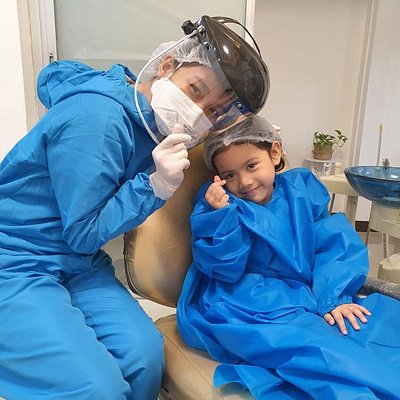 The dentist and her little patient.