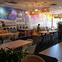 The more chic and colorful  dining area of 2640 Restaurant-Bar