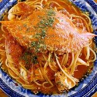 ワタリ蟹のトマトスパゲッティ