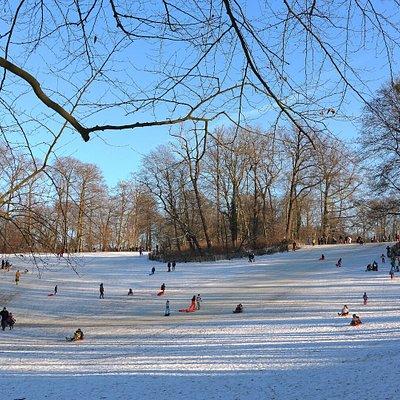 Le parc de Wolvendael sous la neige en février 2021.