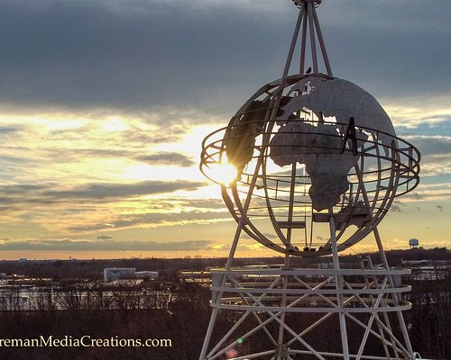 The globe on the top of the Race Palace.